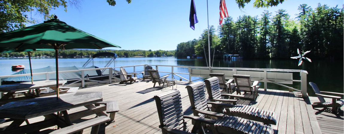 Our Large Lakefront Deck with Panoramic Views of Lake Winnisquam
